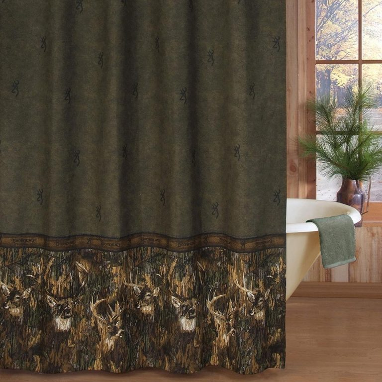 shower curtain with images of whitetail deer with the famous Browning logo