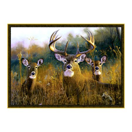 trophy buck with 2 does in vivid realistic detail on a rug