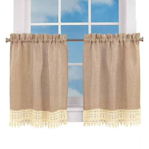 Burlap tier curtains trimmed with lace