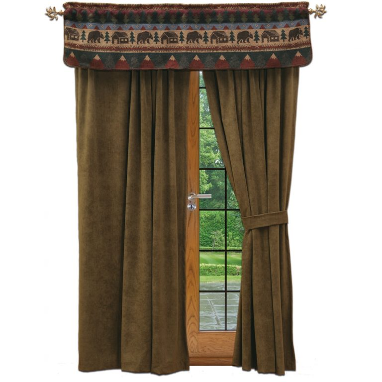 Olive green Cabin Bear drapes with valance