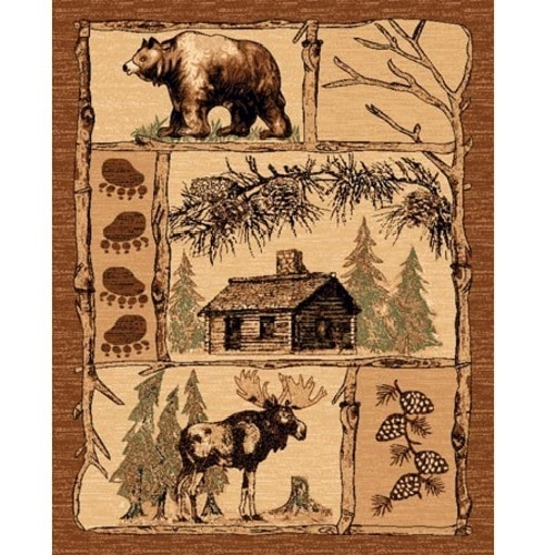 rug features a bear, moose, cabin motif