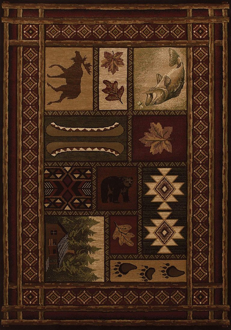 Rug features bear, moose and other lodge theme designs