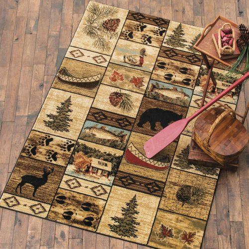 lodge rug with cabins, wildlife, fish, evergreens, pine cones and paw prints