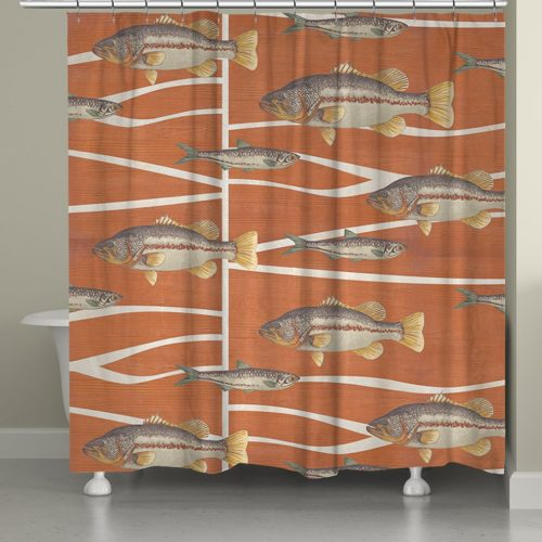 shower curtain with realistic fish swimming on a rust-orange background