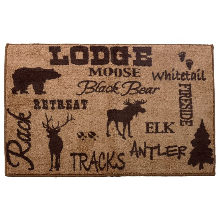 Rug features Bear, Moose, Deer on the light-brown background.