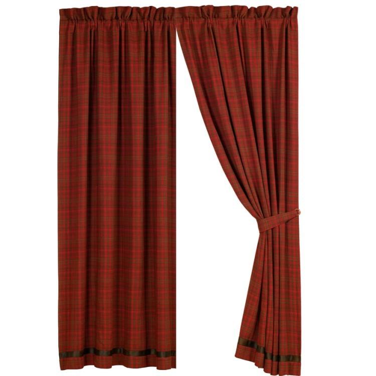 Cascade Lodge red plaid drapes