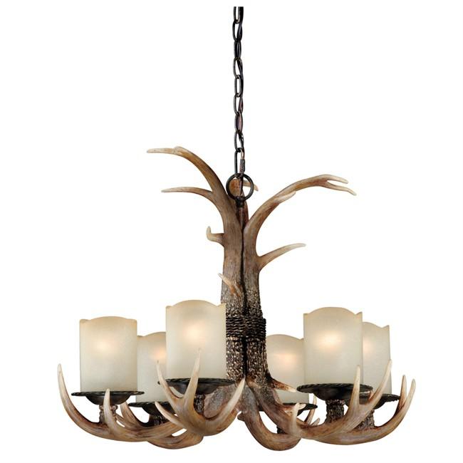 Deer antler chandelier with 6 lights