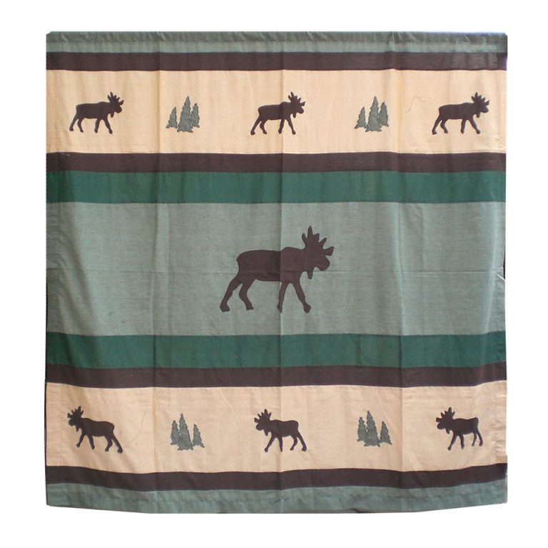 majestic applique bull moose standing in the center of the shower curtain with moose border