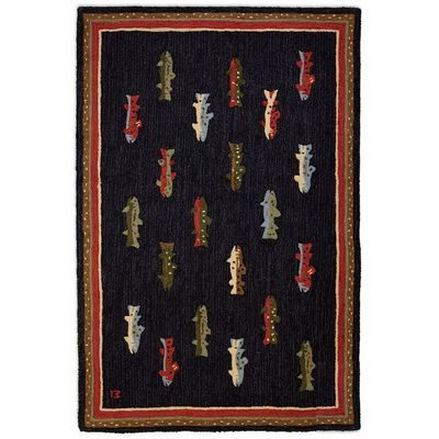 Dark rug with colored fish