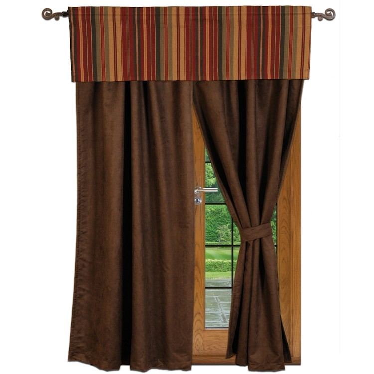 Chocolate suede drapes and striped valance