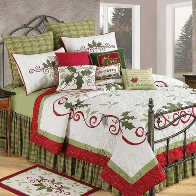 Pretty white Christmas theme bedding with red and green decorations