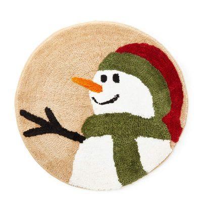 Cute snowman on round rug