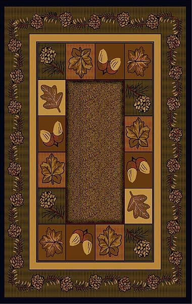 leaves, pinecones and acorns on a brown rug
