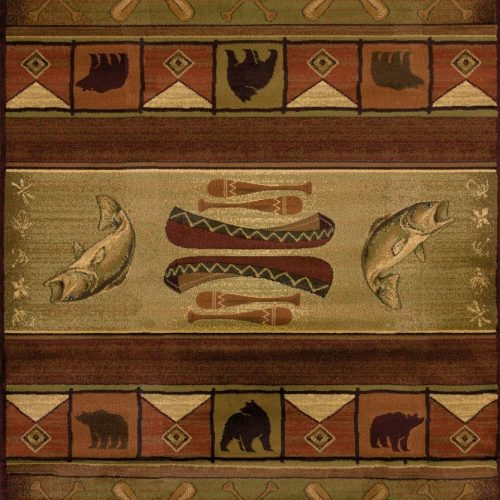 lodge rug featuring canoes, paddles, fish and bear.