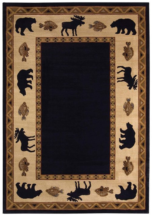 rug with moose, bear and fish motifs. Tasteful geometric patterns form the borders.