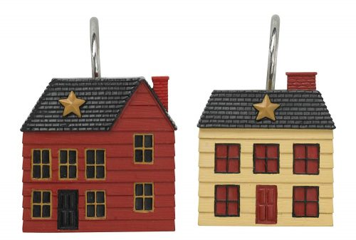 resin shower curtain hooks in shapes of rustic country cottages