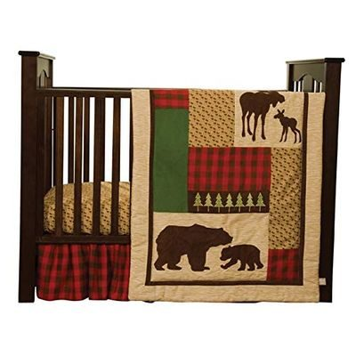Tan crib quilt with moose and bears theme bedding