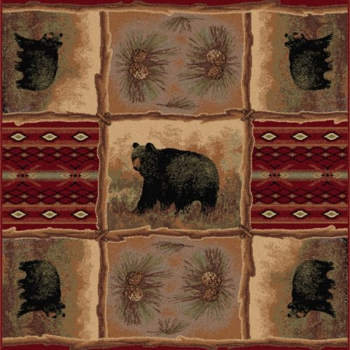 bear images on crimson colored rug