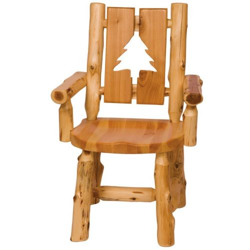 Log cut out arm chair