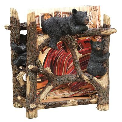 Cute magazine rack with bear cubs and birch branches