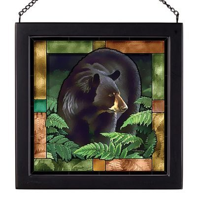 Framed stained glass portrait of a bear