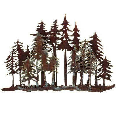 Black metal wall art with forest scene