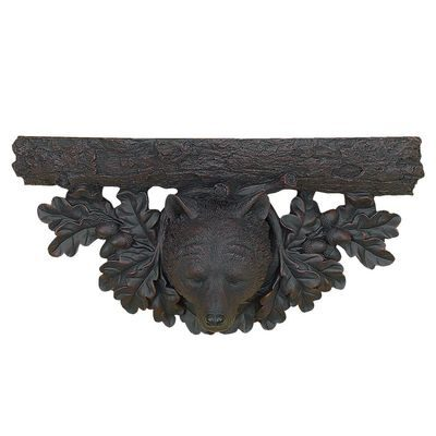 Rustic wall shelf with bear head