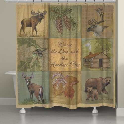 shower curtain digitally printed to create crisp, vibrant colors and images of moose, deer bears