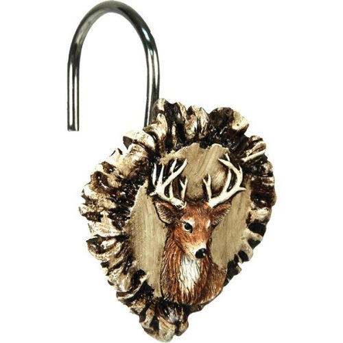 shower curtain hook looks like little carved whitetail deer bucks on pieces of real antler