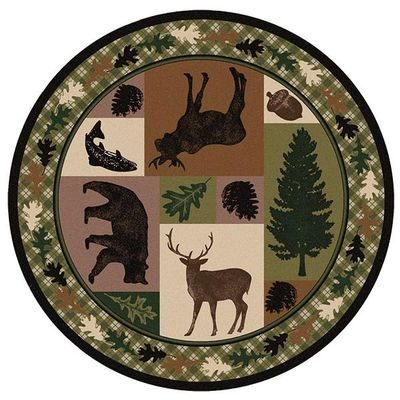 Round rug with deer, moose and fish