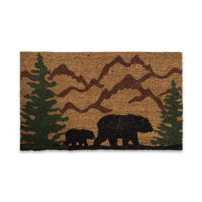 Indoor outdoor door mat with bear