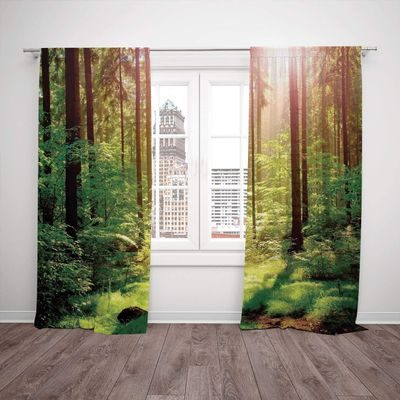 Floor length drapes with large forest scene
