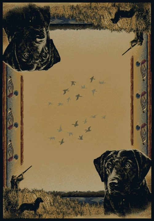 duck hunters and black labs on rug
