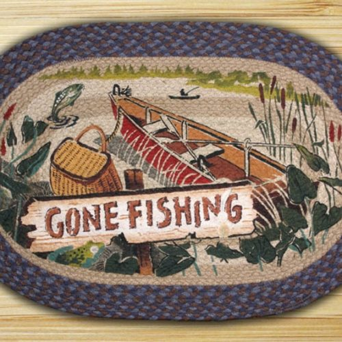 colorful lake side scene rug complete with creel, row boat and jumping fish