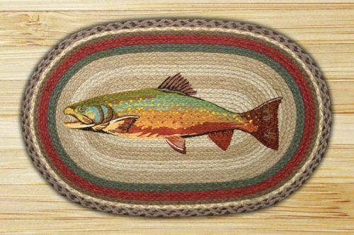colorful trout on jute braided rug