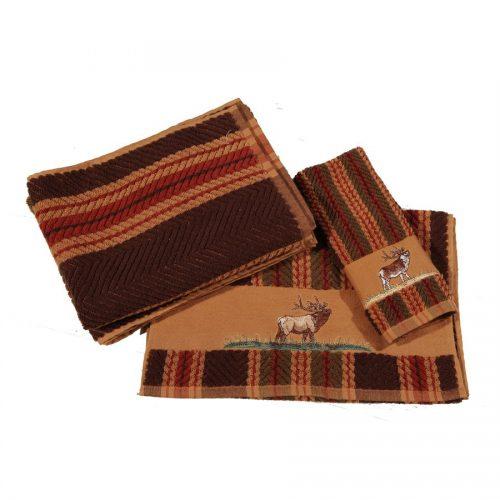embroidered elk striped towel