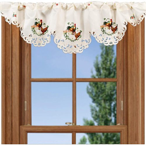 Embroidered rooster and hen valance