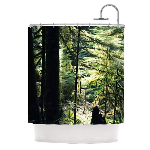 beautiful evergreen forest printed shower curtain