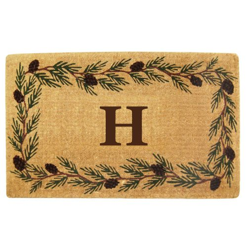your monogram on coir mat with pinecone border