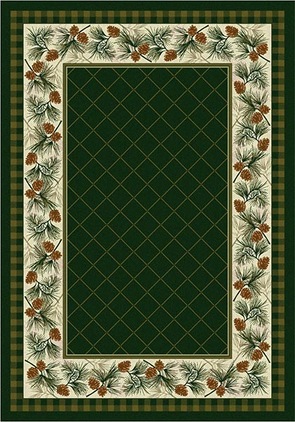 pine boughs on a beige background rug