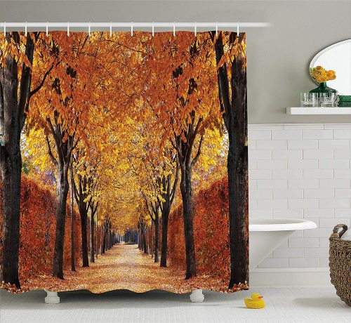 printed shower curtain fall road with colorful autumn leaves