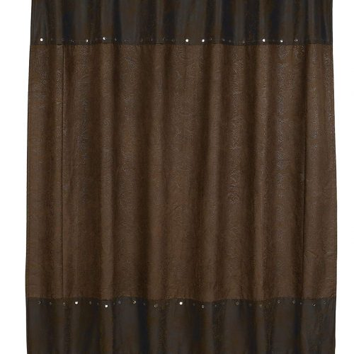 western theme chocolate brown shower curtain