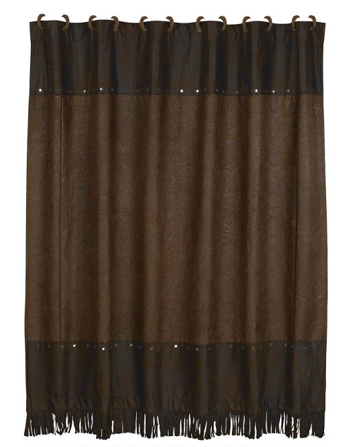western theme chocolate brown shower curtain