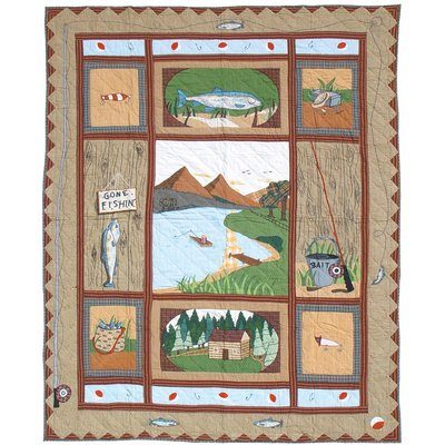 Patch Magic quilt with fish and fishing supplies, with fish theme bedding