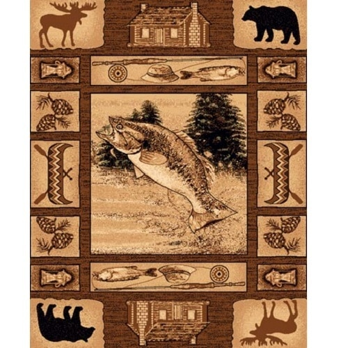 rug with fishing theme design that includes bait and tackle, canoes, cabins, bear and moose surrounding a jumping fish