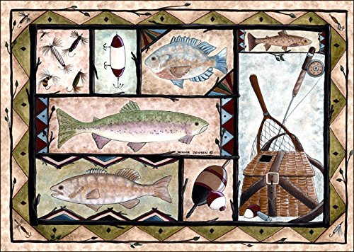 doormat with colorful fish and fishing equipment