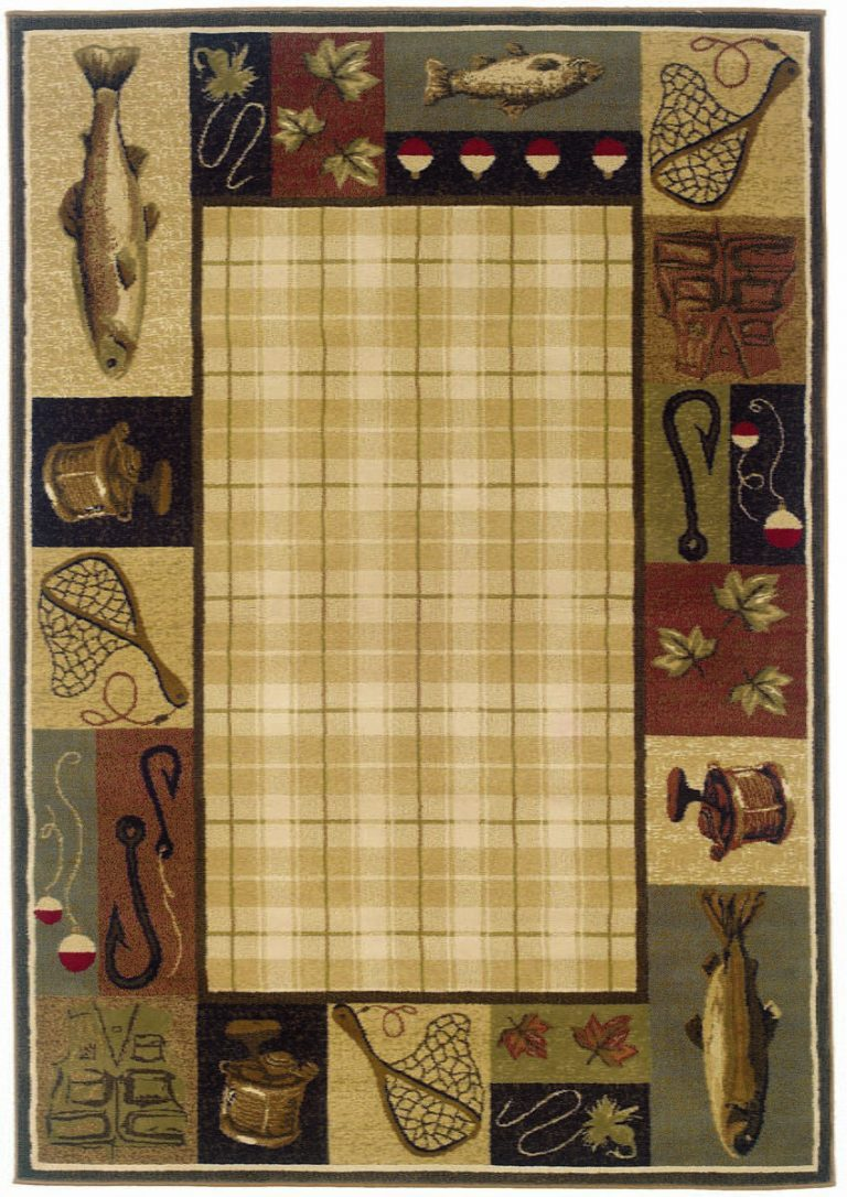 rug with neutral plaid center bordered with vintage fishing images