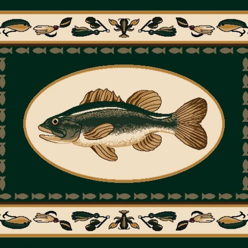 trophy fish on dark green rug with fishing lures and crawfish bait border