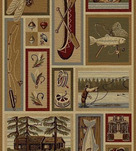 multicolor rug with collage of fly fishing gear, fish, lake scenes, a canoe, and a dragonfly
