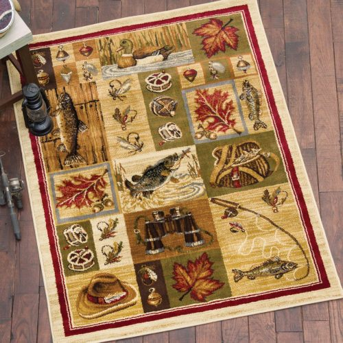 rug with a colorful collage of fishing gear, leaves, fish, and a duck
